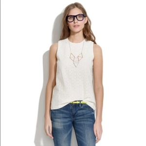MADEWELL Women's White Blouse Sleeveless Top Small
